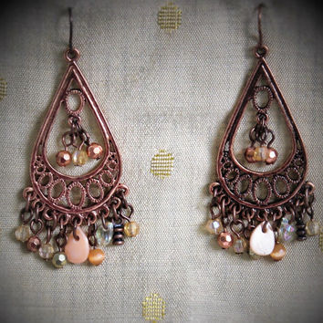 Vintage Boho Hippie Beaded Chandelier Earrings In Copper Tone