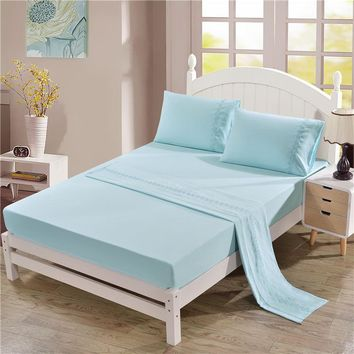 Soft flat and fitted sheet set US King/Queen size solid color flowers Bed Linens 4pcs/set girls bedding sabanas cama matrimonio