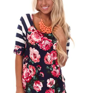 Navy Floral Print and Striped Sleeve Top