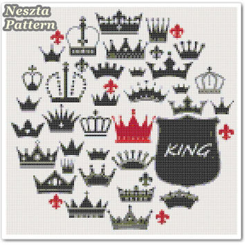 Crowns Cross Stitch Pattern, Home decor crown x stitch pattern, Cross stitch Embroidery, Embroidery pattern
