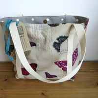 Tote Bag, Reusable Shopping Bag, Butterfly Canvas Handbag, Gift For Her, Present For Mum, Knitting Bag, Cloth Holdall, Material Purse