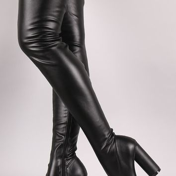Stretched Round Heeled Over-The-Knee Boots