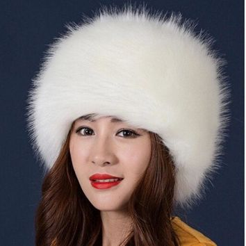 2017 New Style Winter Thick Warm Headgear Faux Fox Fur Women Hats Hot Fashion Cute Casual Female Elegant Caps