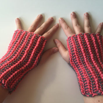Gray and Pink Wrist Warmers, Reversible, Crocheted, Fingerless Gloves Handmade