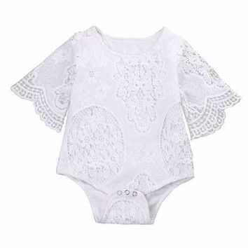 Lace Flower Newborn Baby Girl Romper