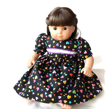 Rainbow Doll Dress Hearts Black Pink Blue Green Orange Yellow Birthday Party Bitty Twin Baby 14 to 16 inch Clothes --US Shipping Included