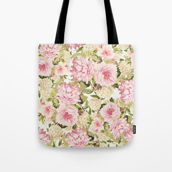vintage peonies and hydrangeas Tote Bag by sylviacookphotography