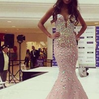 Strapless Crystal Mermaid Prom Gown Long Sweetheart Evening Pageant dresses New