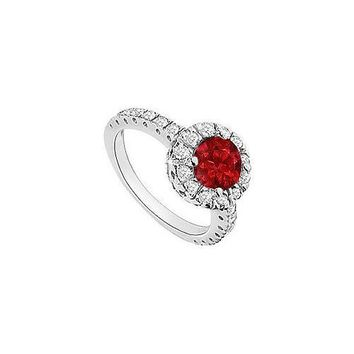 Ruby and Diamond Halo Engagement Ring : 14K White Gold - 1.30 CT TGW