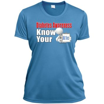 Diabetes Awareness Know Your A1c Ladies Short Sleeve Moisture-Wicking Shirt