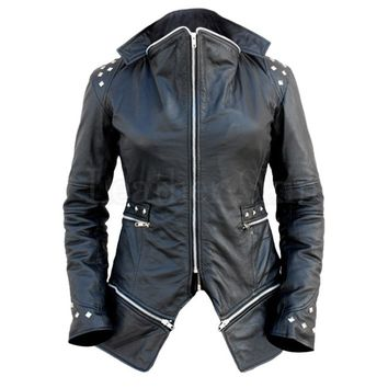 Women Black Spike Studs Leather Jacket