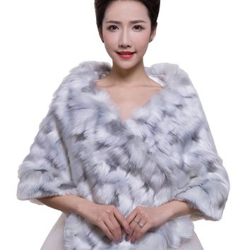 In Stock Wedding Accessory Faux Fur Black White Custom Made Bridal Coat Wedding Bolero Stoles Jacket Shrug Wraps LF55