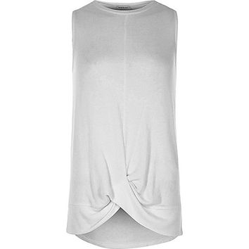 Grey marl twist front tank top