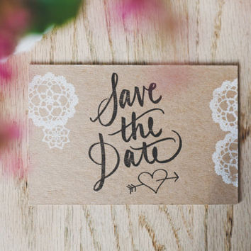 Lace-printed Chipboard Save the Date Postcard with Hand Lettered Text SAMPLE