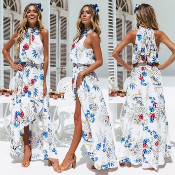 Maxi Party Dress Women Halter Neck Sexy Cross Back Wrap High Slit Summer Dresses Elegant Club Long Camis Beach Holiday Dress