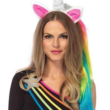 ONETOW Magical unicorn headband with rainbow wig mane in MULTICOLOR
