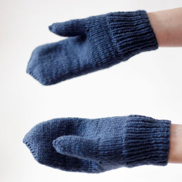 Hand Knitted Wool Mittens- Hand Knit-Winter Mittens- Blue-