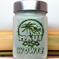 Maui WOWIE Etched Glass Stash Jar- Free UPGRADE to Priority Mail within the US