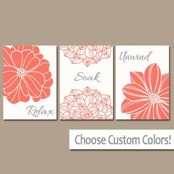 Bathroom Decor, Coral BATHROOM Wall Art, CANVAS or Print, Bath Decor, Bathroom Quotes, Relax Soak Unwind, Bathroom Pictures, Set of 3