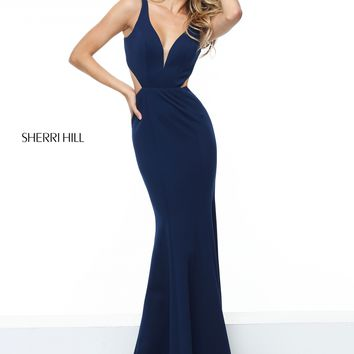 Sherri Hill 50753 Long Navy Jersey Dress | RissyRoos.com