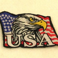 USA EAGLE FLAG  Iron on Small Patch for Biker Vest SB854