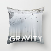 GRAVITY Throw Pillow by Cafelab
