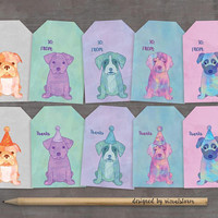 Watercolor Puppy Party Favor Tags Printable Puppies Thank You Tags Cute Puppy Dog Gift Tags Puppy Birthday Party Printable Digital DIY Tags