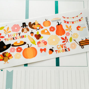 Thanksgiving Stickers - Fall Stickers - Planner Stickers