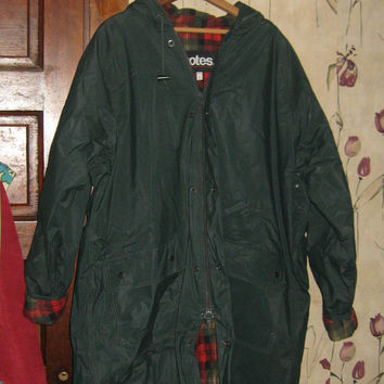 vintage Totes Vinyl flannel lined hooded   raincoat  unisex   mens or womens  sz xlarge