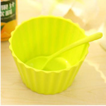 Hot Children's Plastic Ice Cream Bowls Spoons Set Durable ICE Cream CUP For KIds Lovely Dessert Bowl Levert Dropship mar6