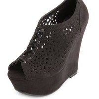 Laser-Cut Peep Toe Lace-Up Wedges by Charlotte Russe - Black