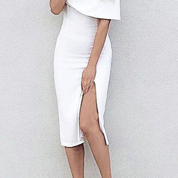 White Off Shoulder Layered Split Midi Dress