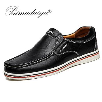Mens Style Boat Shoes Minimalist Design Leather Men Dress Shoes Loafers Formal Business Oxfords Shoes