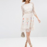 ASOS COLLECTIONS Skater Dress With Lace Sleeves and Neon Embroidery