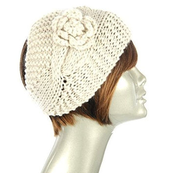 Women's Wide Knit Winter Headband W Flower Trim in 2 Colors