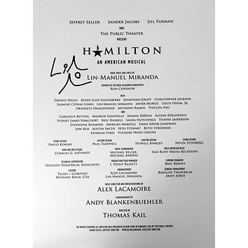 Hamilton Sheet Music Signed By Lin-Manuel Miranda