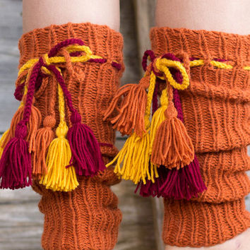 Bohemian Leg Warmers with Tassels, Pure Wool Burnt Orange Legwarmers, Boho Accessories