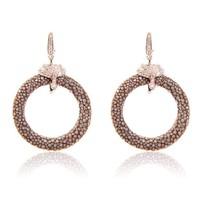 Medusa 22ct Rose Gold Vermeil Stingray medium hoop Earring Chocolate