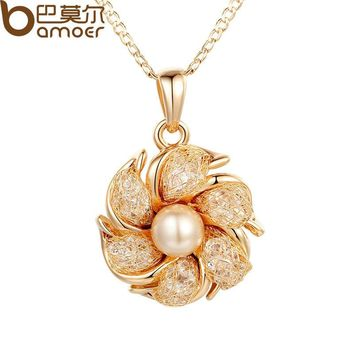 Champagne Gold Color Necklaces Pendants Simulated Pearl AAA Cubic Zircon For Women JSN090
