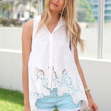 SABO SKIRT  Coconut Collared Top - $42.00
