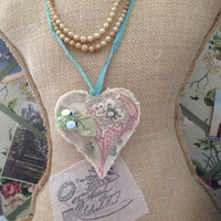 Rustic heart flour sack necklace, shabby chic necklaces