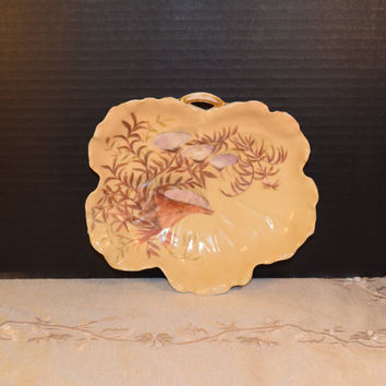 1880s Haviland Limoges Hand Painted Leaf Dish Vintage Antique Seashells Painted Tray Art Nouveau French China Beach Theme Pin Dish