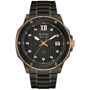 Bulova Mens Diamond Marine Star - Black PVD & Rose Tone - Black Dial - Date