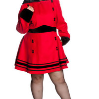 Hell Bunny Plus Red Faux Fur Trim Hooded A-line Princess Sofia Coat