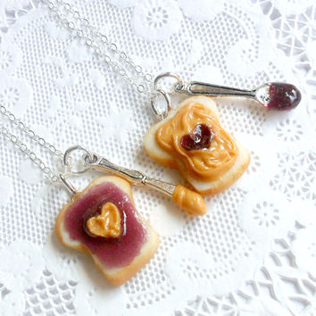 Peanut Butter Jelly Heart Necklace Set, BFF, Choice Of Stainless Steel Chains