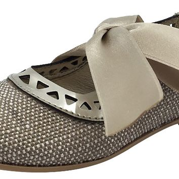 Luccini Girl's Beige Linen with Gold Trim Bow Tie Flats