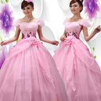 pink floral beading long medieval dress Renaissance ball Gown