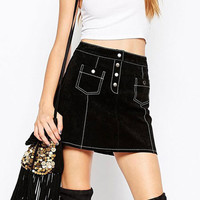 Black & White Contrast Stitch A Line Short Skirt
