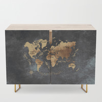 world map 147 gold black #worldmap #map Credenza by jbjart