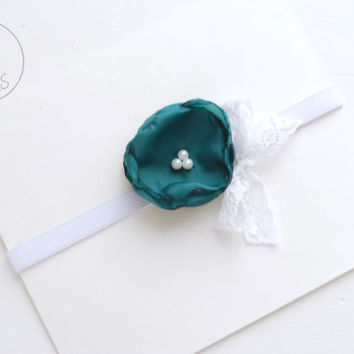 Baby Headband, AQUA GREEN Flower Baby girl Headband, newborn Headband, Baby Headbands, Infant Headband, Baby Flower girl, Baby
